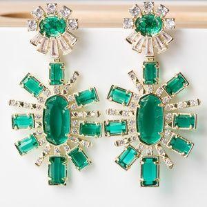 Kendra Scott Glenda Statement Earrings Green